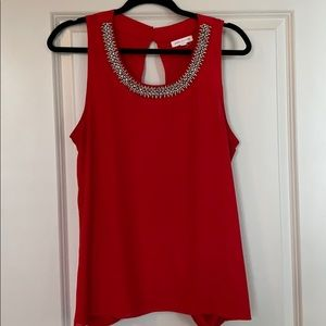 Socialite Red Jeweled Sleeveless Blouse